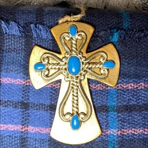 Other - Wooden cross with turquoise accents